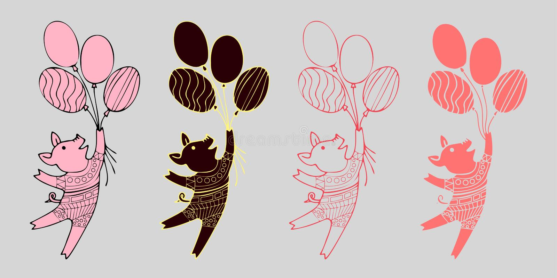 Wektorowe małe kreskówek świnie lata na piłkach Ilustracje śliczni piggys Ręka rysująca stylowa prosiaczek ilustracja dla royalty ilustracja