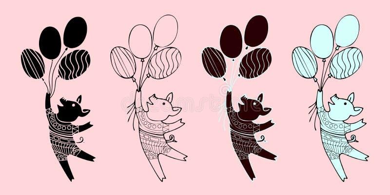 Wektorowe małe kreskówek świnie lata na piłkach Ilustracje śliczni piggys Ręka rysująca stylowa prosiaczek ilustracja dla ilustracji