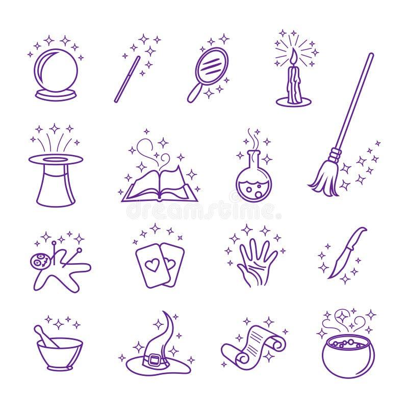 Wektorowe magiczne ikony w kreskowym stylu ilustracja wektor