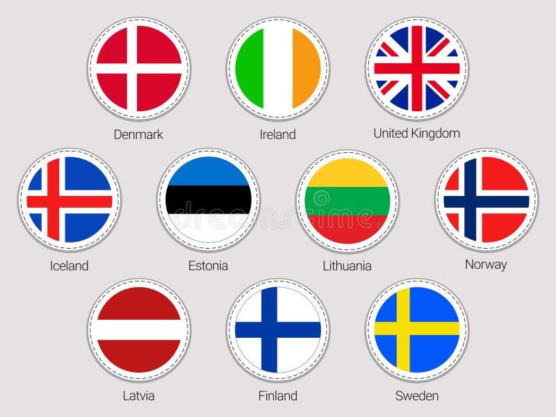 Wektorowe majcher flaga inkasowe Kraj europejski flaga ustawiać Round elementy Tradycyjni kolory Północni Europa stany Denmar royalty ilustracja