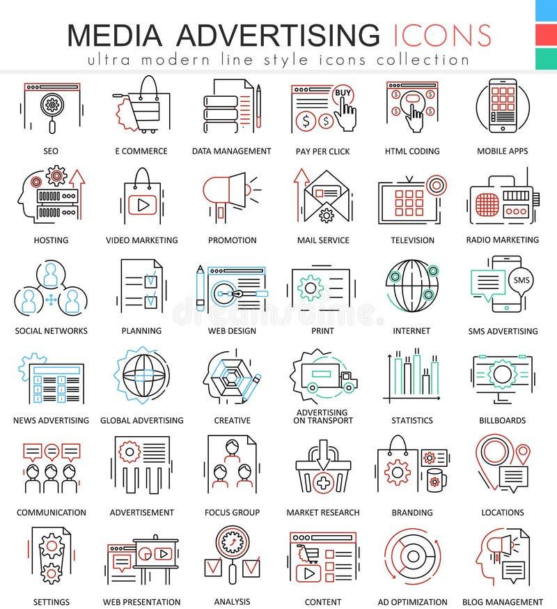 Wektorowe Medialne reklama koloru konturu linii ultra nowożytne ikony dla apps i sieć projekta ilustracja wektor