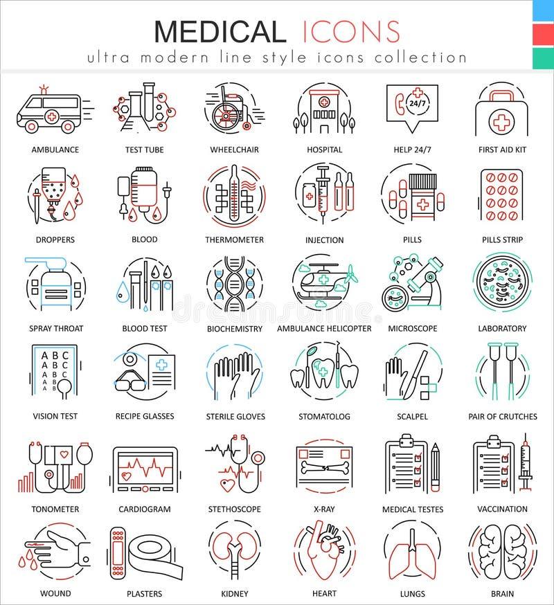 Wektorowe Medyczne medycyna koloru mieszkania linii konturu ikony dla apps i sieć projekta Medyczne opiek zdrowotnych ikony ilustracja wektor