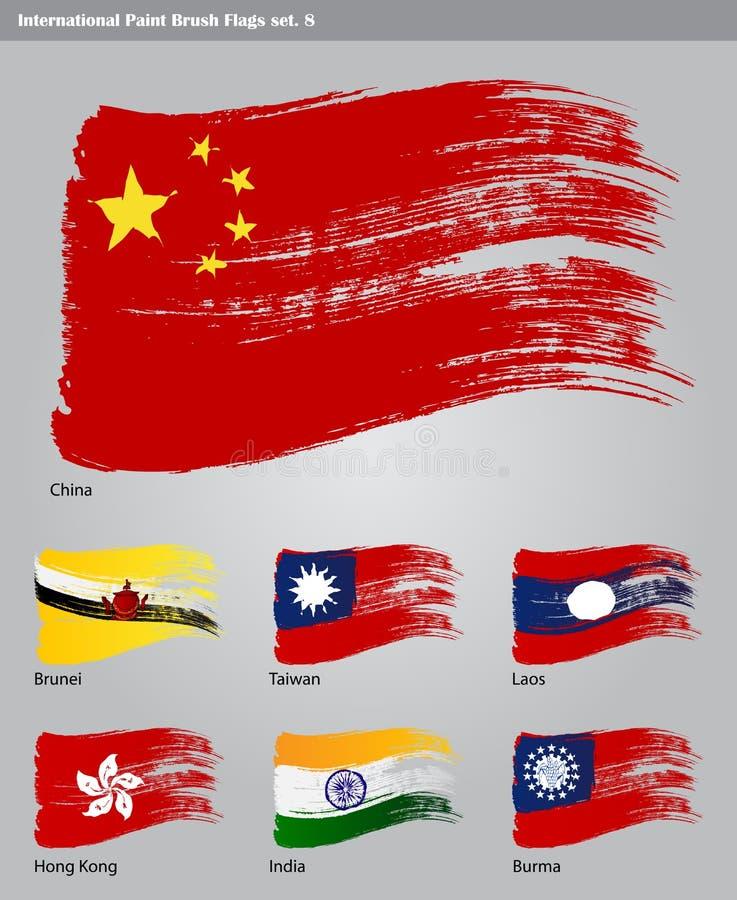Wektorowe Międzynarodowe Farby Muśnięcia Flaga Obrazy Stock