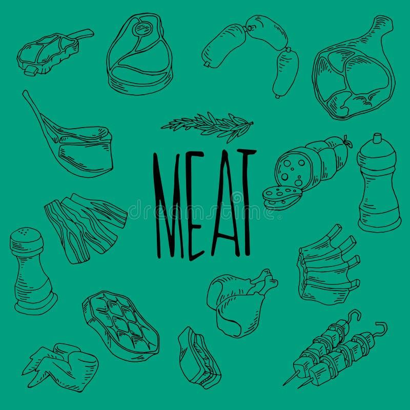 Wektorowe mięsne ikony ustawiają Wektorowe mięsne ikony ustawiać, grill, gorący grill ilustracji