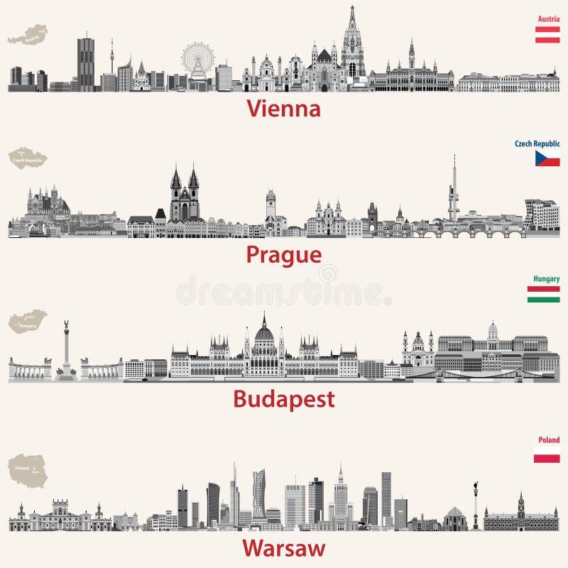 Wektorowe miasto linie horyzontu Wiedeń, Praga, Budapest royalty ilustracja