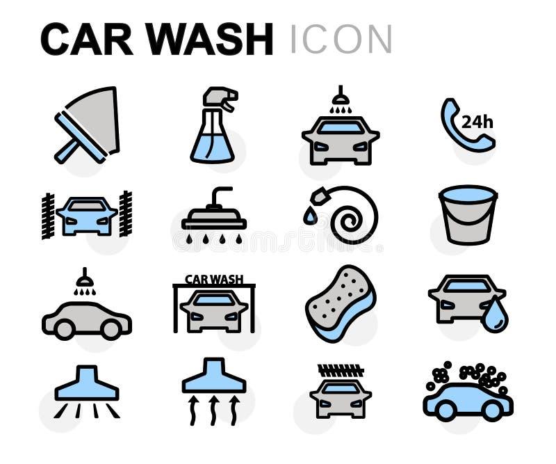 Wektorowe mieszkanie linii samochodowego obmycia ikony ustawiać ilustracja wektor