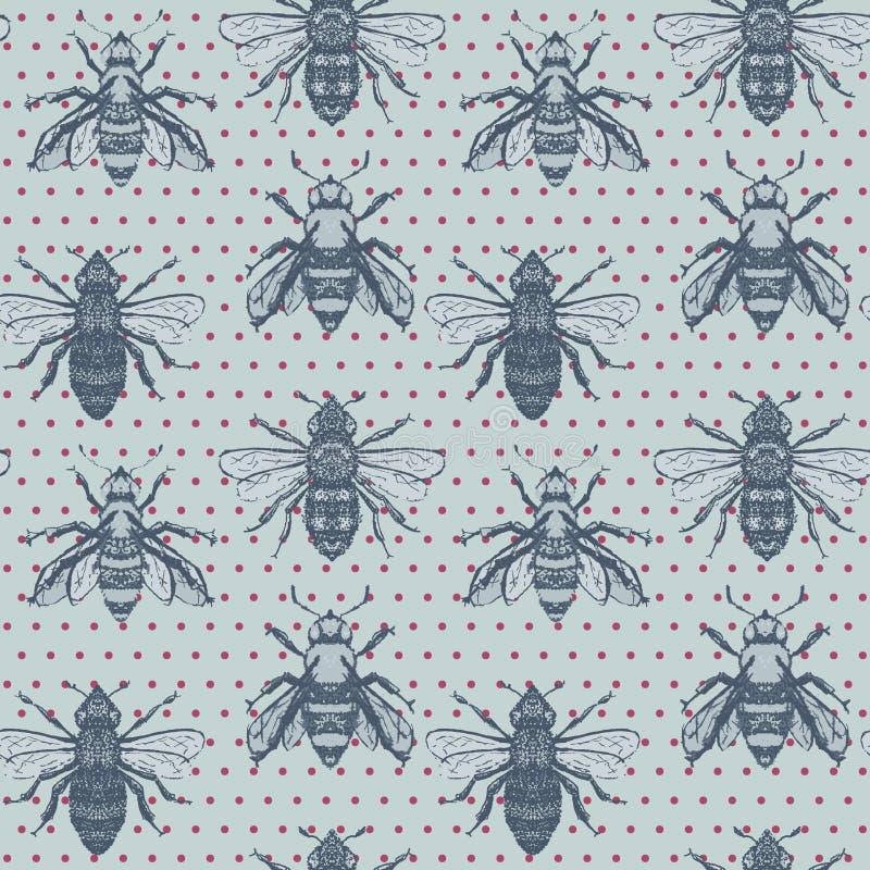 Wektorowe Miodowe pszczoły z polek kropek bezszwowym deseniowym tłem ilustracja wektor