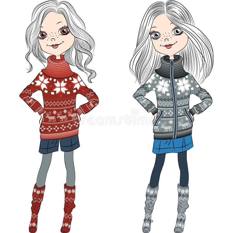 Wektorowe moda modnisia dziewczyny w trykotowych pulowerach ilustracja wektor