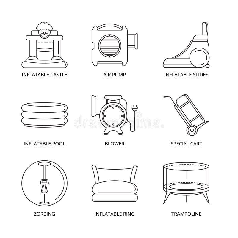 Wektorowe mono kreskowe ikony ustawiać nadmuchiwani kasztele royalty ilustracja