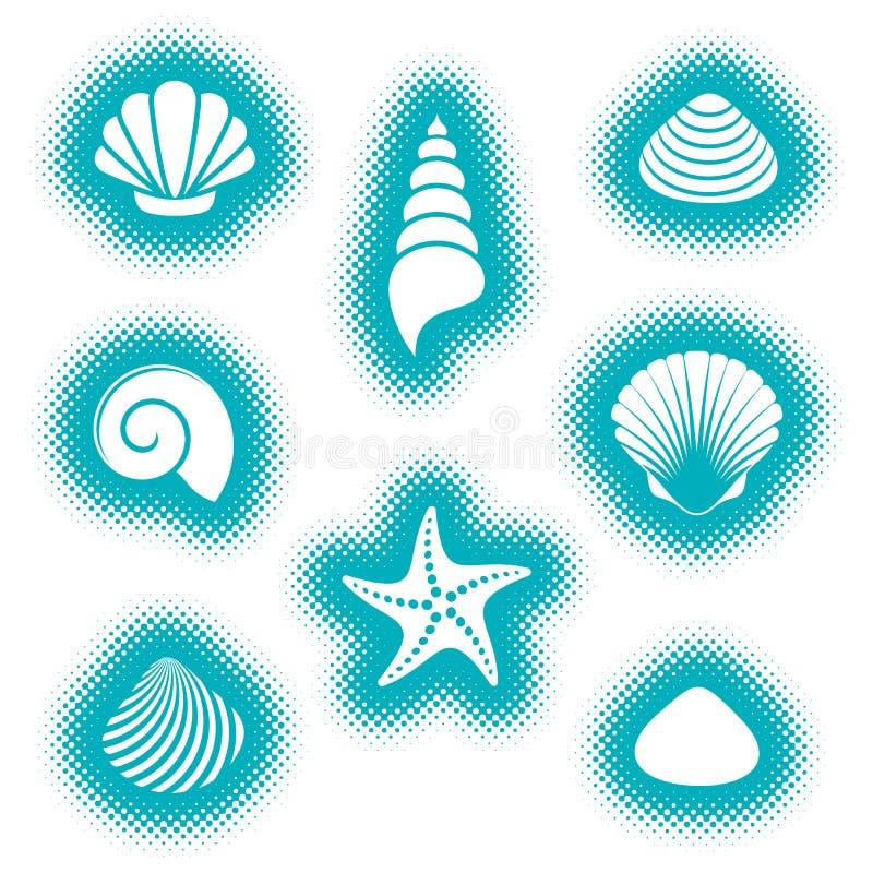 Wektorowe morze skorupy i rozgwiazd ikony royalty ilustracja