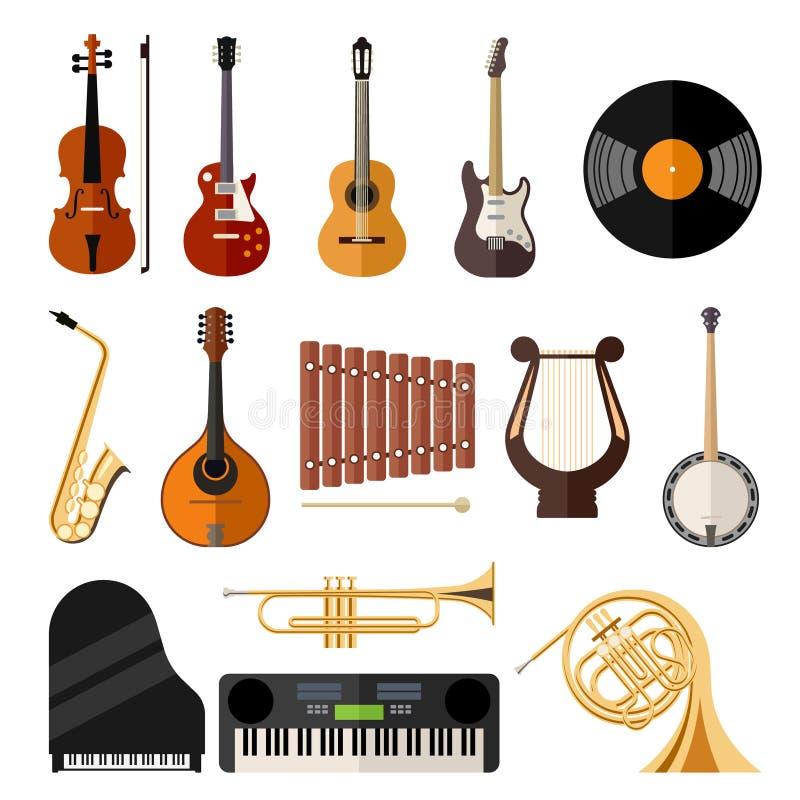 Wektorowe muzycznych instrumentów mieszkania ikony ilustracja wektor