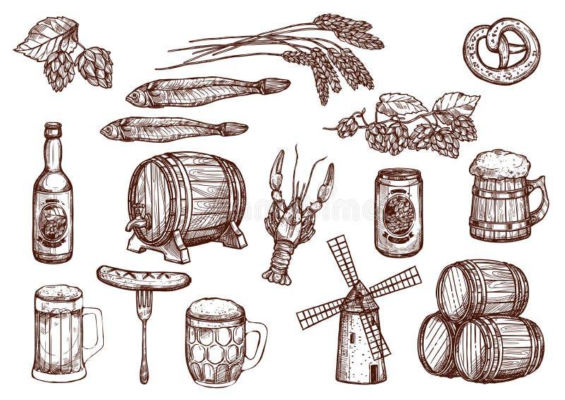 Wektorowe nakreślenie ikony piwo browar i przekąski ilustracja wektor