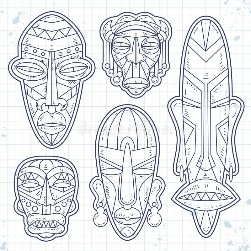 Wektorowe nakreślenie ikony, set Afrykańska Etniczna Plemienna maska Obrządkowi symbole ilustracji