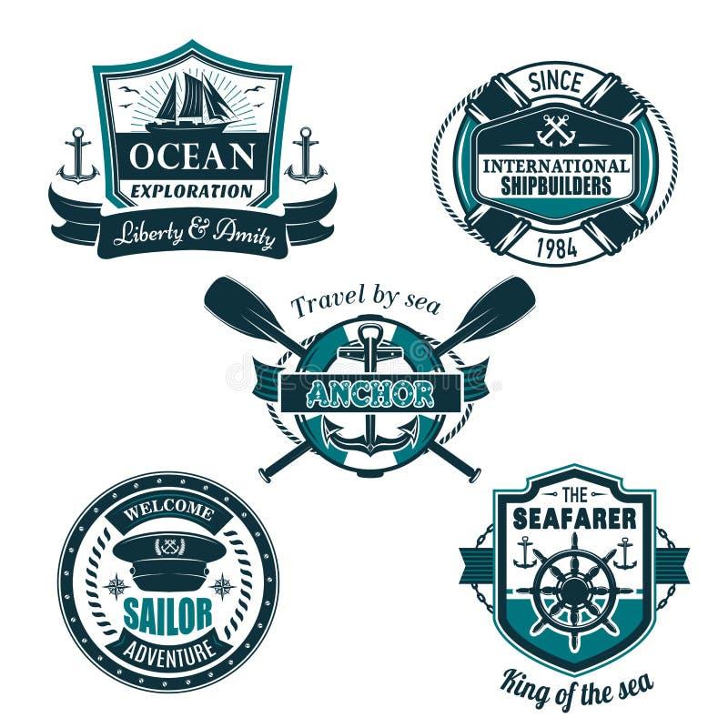 Wektorowe nautyczne heraldyczne ikony żeglarza żeglowanie royalty ilustracja