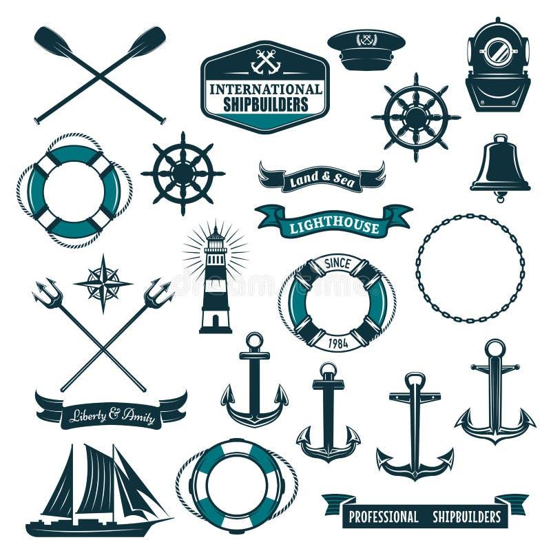 Wektorowe nautyczne heraldyczne ikony żeglarza żeglowanie ilustracji