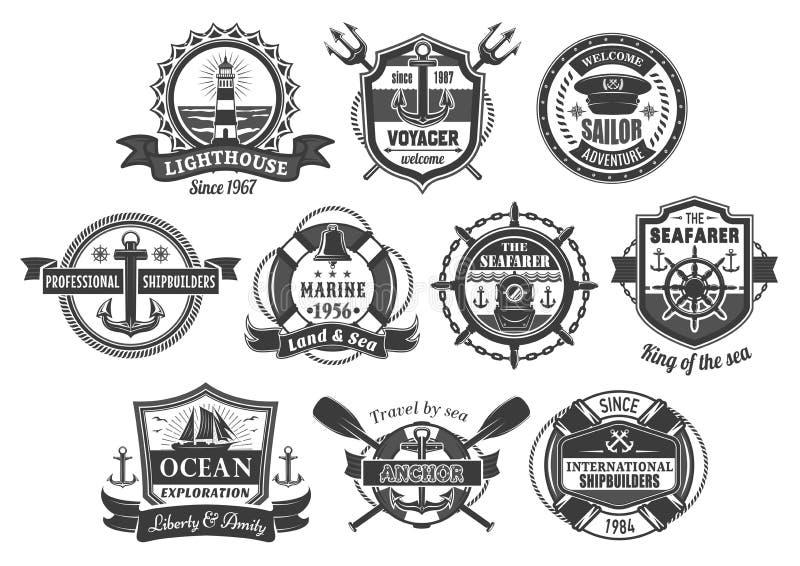Wektorowe nautyczne morskie heraldyczne ikony ustawiać ilustracja wektor