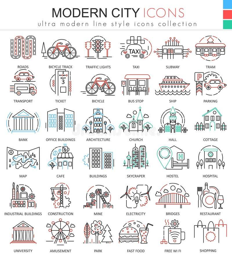 Wektorowe Nowożytne miasto koloru mieszkania linii konturu ikony dla apps i sieć projekta Miastowe mądrze miasto elementów ikony royalty ilustracja
