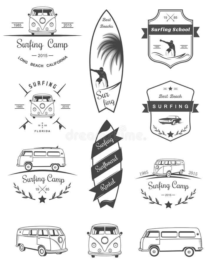 Wektorowe odznaki i logów Surfować fotografia royalty free