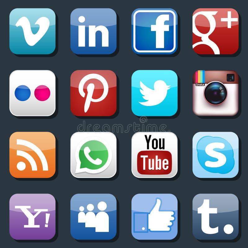 Wektorowe Ogólnospołeczne Medialne ikony royalty ilustracja