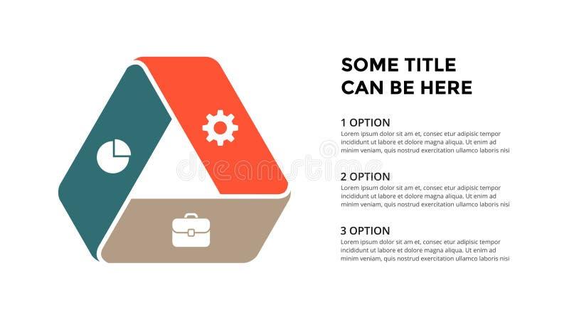 Wektorowe okrąg strzała infographic, cyklu diagram, geometryczny wykres, prezentaci mapa Biznesowy pojęcie z 3 opcjami royalty ilustracja