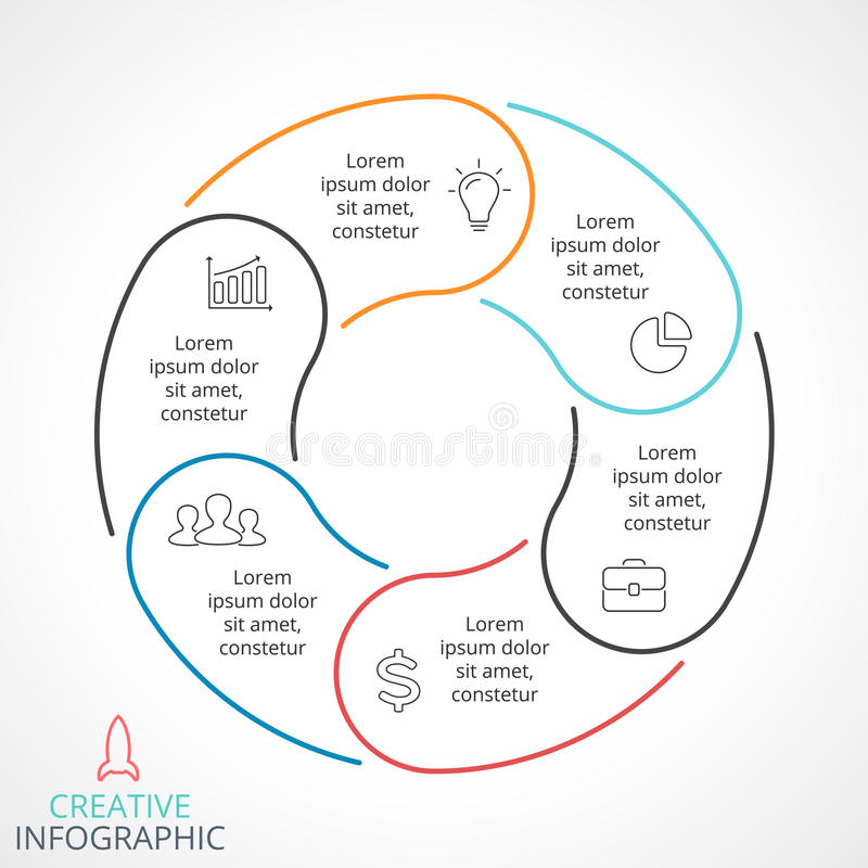 Wektorowe okrąg strzała infographic, cyklu diagram, liniowy wykres, prezentaci mapa Biznesowy pojęcie z 6 opcjami royalty ilustracja
