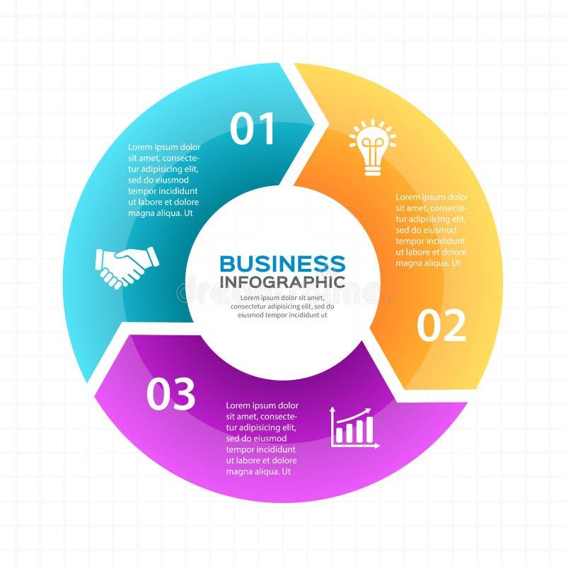 Wektorowe okrąg strzała infographic, diagram, wykres, prezentacja, mapa Biznesowego cyklu pojęcie z 3 opcjami, części ilustracji