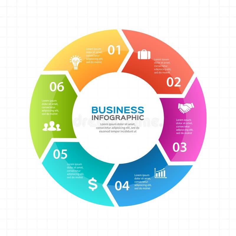 Wektorowe okrąg strzała infographic, diagram, wykres, prezentacja, mapa Biznesowego cyklu pojęcie z 6 opcjami, części royalty ilustracja