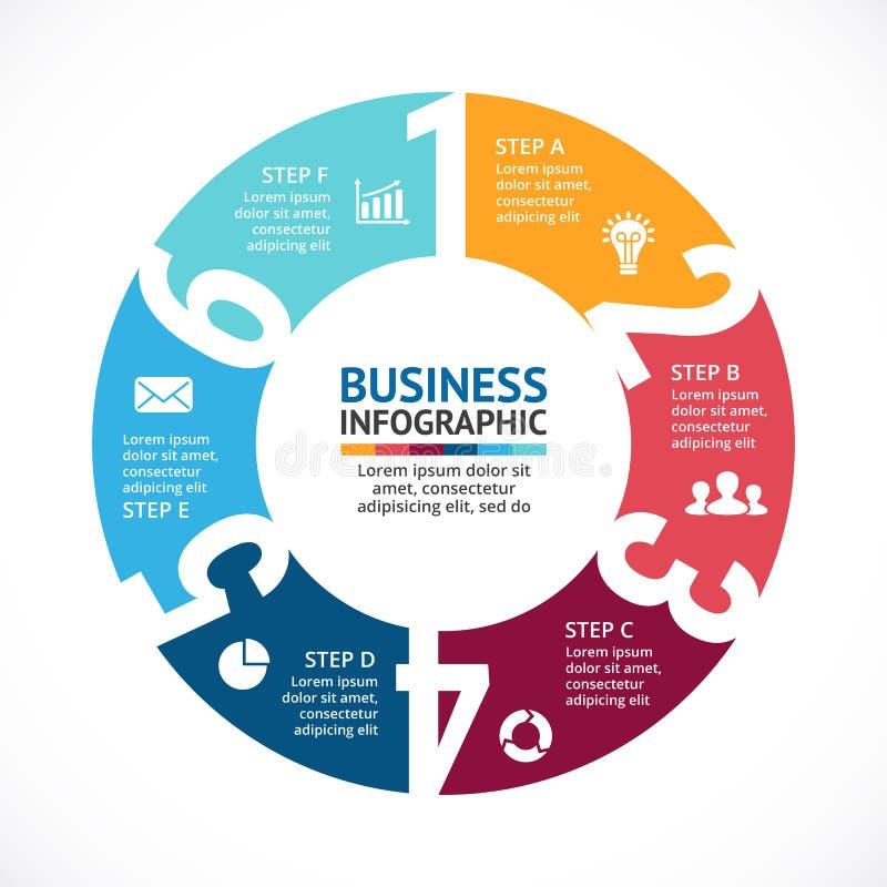Wektorowe okrąg strzała liczą infographic, diagram, wykres, prezentacja, mapa ilustracji