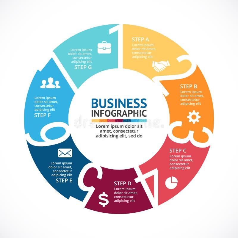 Wektorowe okrąg strzała liczą infographic, diagram, wykres, prezentacja, mapa Biznesowego cyklu pojęcie z opcjami ilustracja wektor