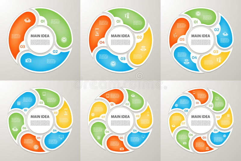 Wektorowe okrąg strzała podpisują infographic set Cyklu diagram, symbolu wykres, łamigłówka royalty ilustracja