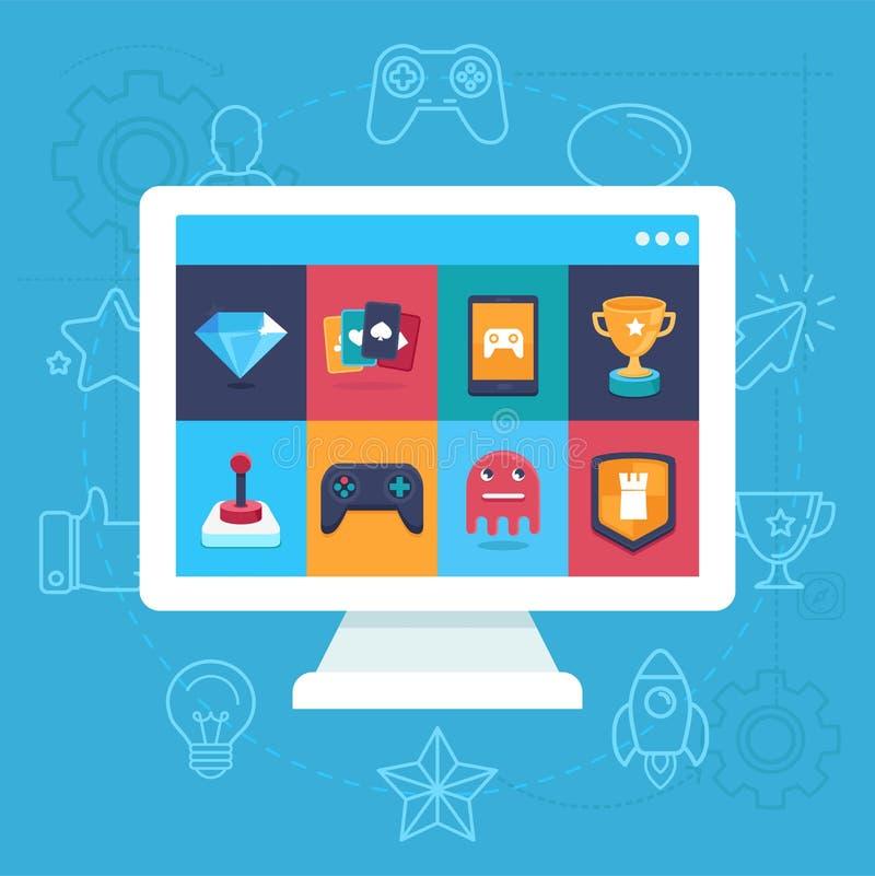 Wektorowe online i mobilne gemowe ikony ilustracja wektor