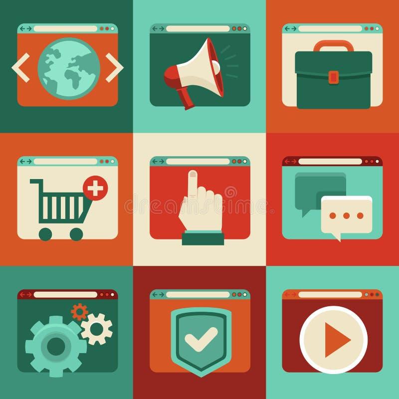 Wektorowe online usługa - pojęcia w mieszkaniu projektują ilustracja wektor
