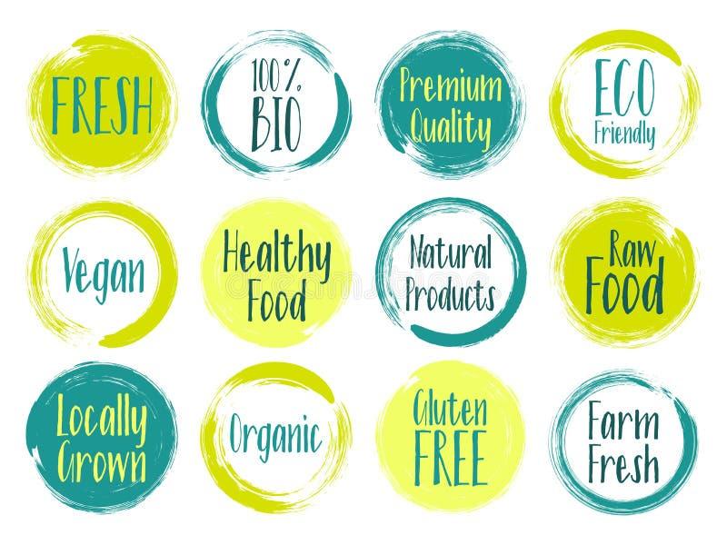Wektorowe organicznie etykietki, życiorys emblematy dla restauracja menu, naturalni royalty ilustracja