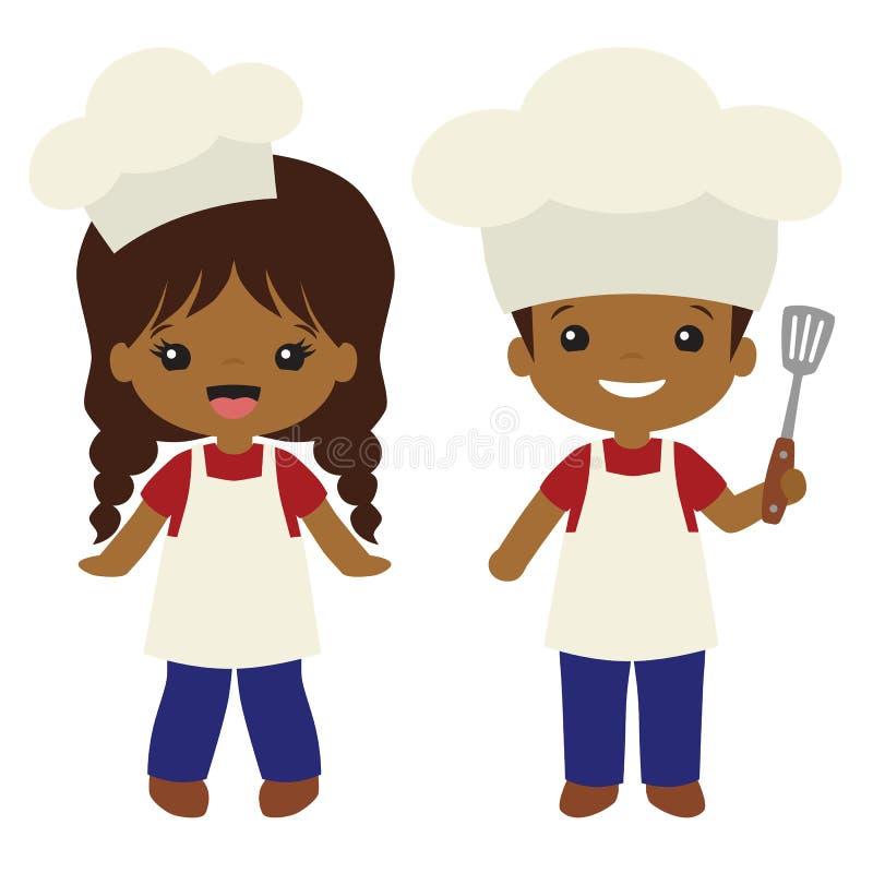 Wektorowe osoby o kolorze skóry innym niż biały Cookout grilla Gotują chłopiec i dziewczyny ilustracje ilustracji