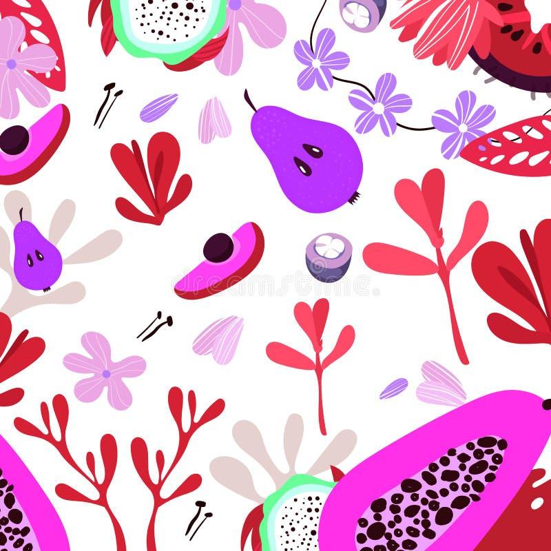 Wektorowe owoc i ziele Ilustracyjne płaskie eco owoc royalty ilustracja