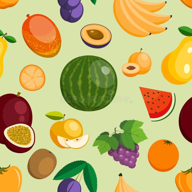 Wektorowe owoc jabłka, banana i melonowa egzotyczny, mieszkanie projektują ilustrację Świeżych fruity plasterków tropikalny drago ilustracja wektor