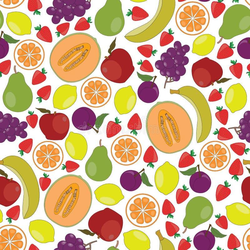 Wektorowe Owocowe jabłko pomarańcz winogron truskawek bonkret bananów kantalupa cytryn śliwki na Białym Bezszwowym powtórka wzorz royalty ilustracja