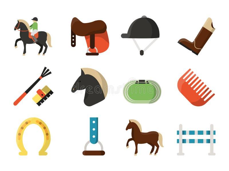 Wektorowe płaskie ikony Symbole equestrian sport royalty ilustracja