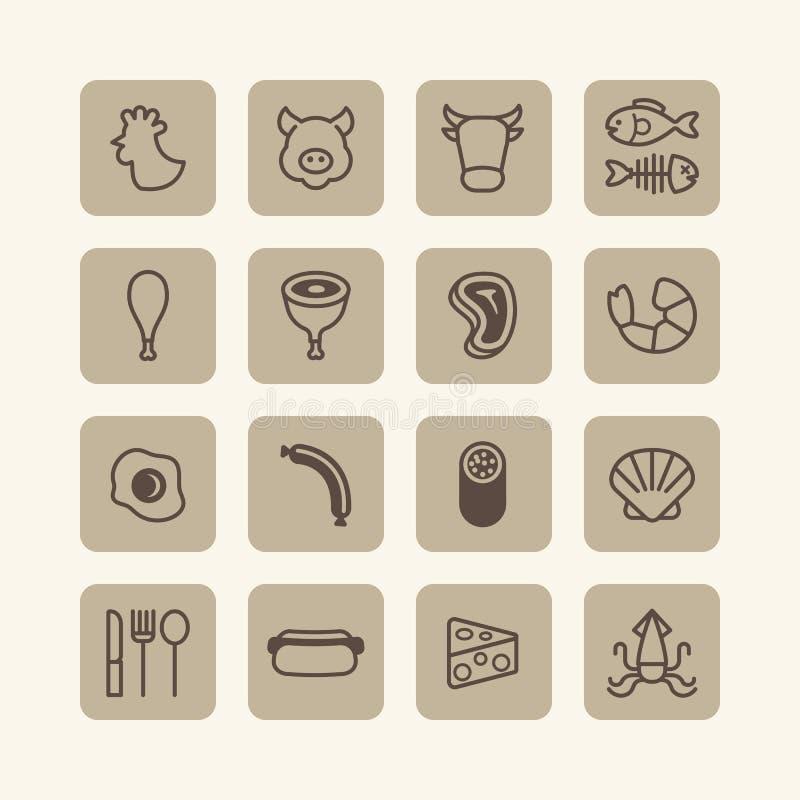 Wektorowe płaskie ikony ustawiać foods zarysowywają pojęcie royalty ilustracja