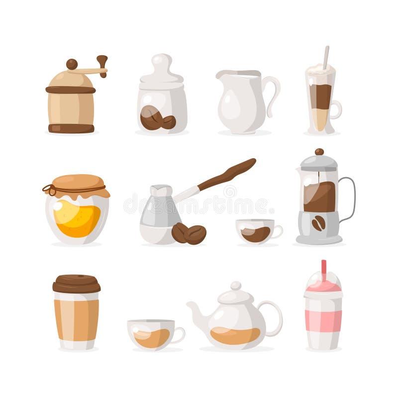Wektorowe płaskie ikony ustawiać kawa, herbata odizolowywający na białym tle/: ostrzarz, kawowe fasole, miód, frappe, kawa, herba ilustracji