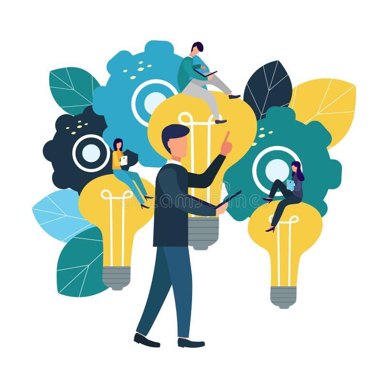 Wektorowe płaskie ilustracje, brainstorming, biznesowy pojęcie dla pracy zespołowej, rewizja dla nowych rozwiązań, mali ludzie si royalty ilustracja