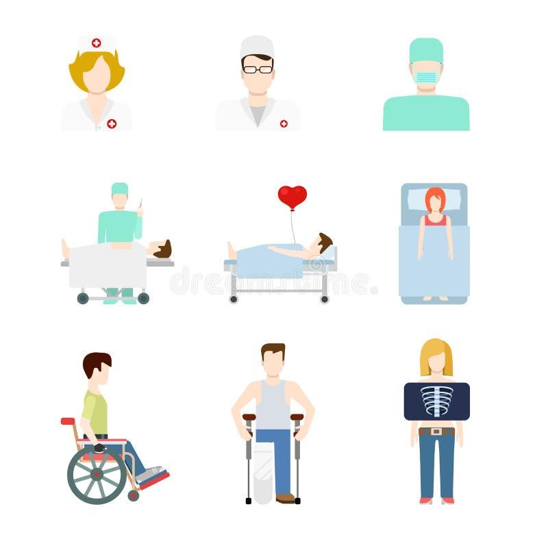 Wektorowe płaskie medyczne sieci ikony: pacjenta szpitala promieniowania rentgenowskiego doc pielęgniarka ilustracji