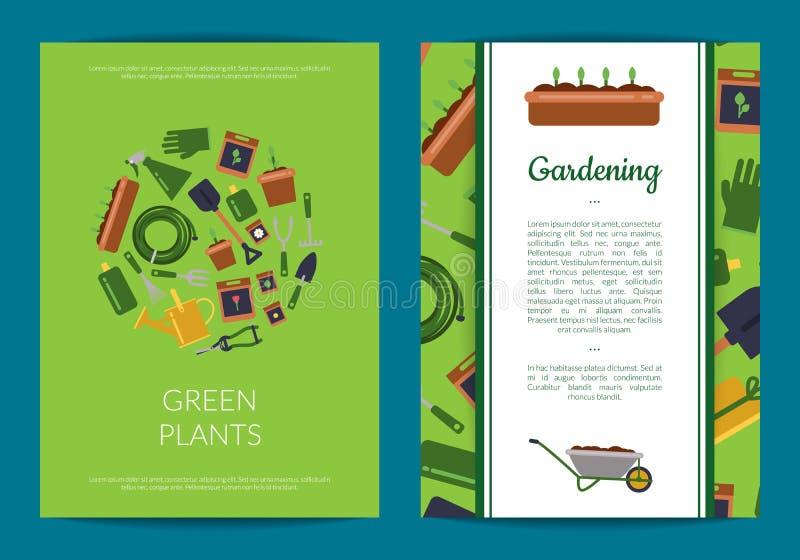 Wektorowe płaskie ogrodnictwo ikony karty lub ulotka szablonu ilustracja ilustracja wektor