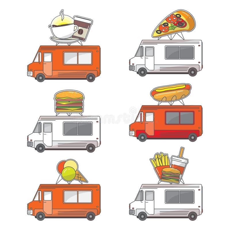 Wektorowe płaskie uliczne jedzenie ciężarówki ikony ustawiać ilustracji