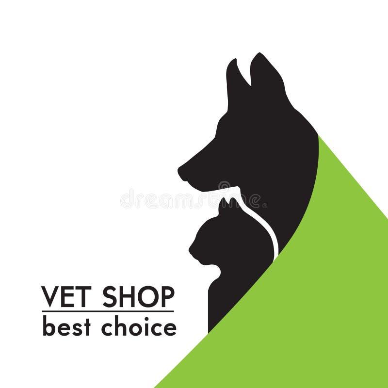 Wektorowe pies i kot sylwetki royalty ilustracja