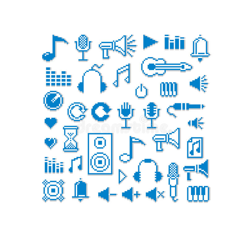 Wektorowe piksel ikony, kolekcja 8bit el muzyczna grafika ilustracji