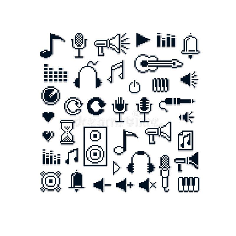 Wektorowe piksel ikony odizolowywać, kolekcja 8bit el muzyczna grafika ilustracji