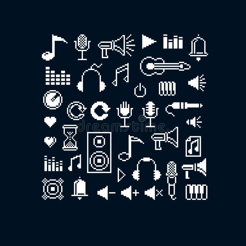 Wektorowe piksel ikony odizolowywać, kolekcja 8bit el muzyczna grafika ilustracja wektor