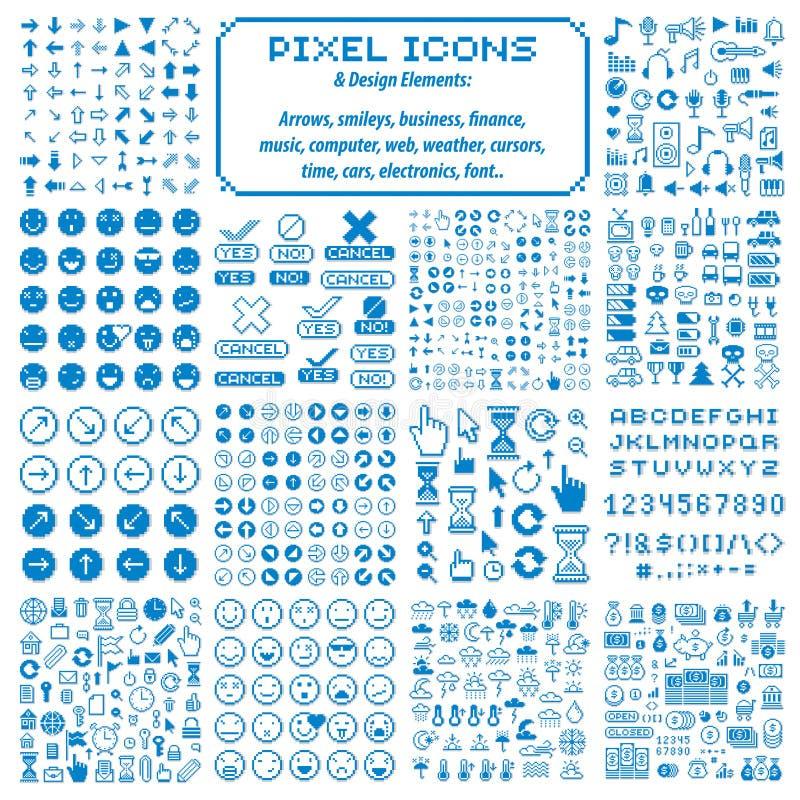 Wektorowe piksel ikony odizolowywać, kolekcja 8bit grafiki elementy ilustracja wektor