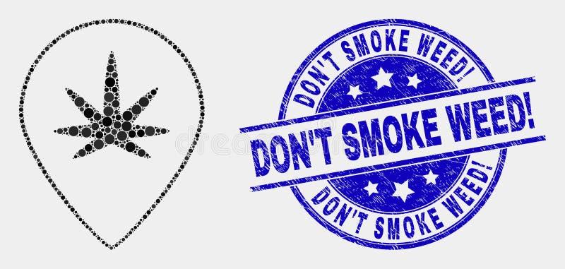 Wektorowe piksel marihuany Kartografują markier ikonę i Grunge no Dymi świrzepy! Znaczek ilustracja wektor